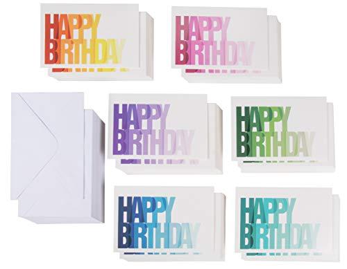 Happy Birthday Cards Box Set (144-Pack) - 6 kleurrijke Ombre ontwerpen - Blank aan de binnenkant, enveloppen inbegrepen, 4 x 6 inch