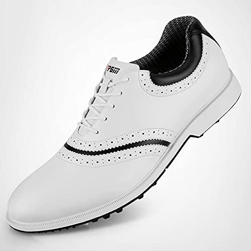 Shoe Zapatos de Golf Impermeables para Hombres, Zapatos de Cuero de Microfibra, Zapatos de Golf Profesionales, Zapatos de Entrenamiento, Zapatos Deportivos, Zapatos de Golf de Negocios Informales