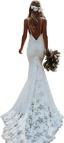 Meganbridal Sexy Bohemian Damen Spitze Träger V-Ausschnitt rückenfrei Meerjungfrau Hochzeitskleid mit Zug für Braut Braut Ballkleid Gr. 18 W, elfenbeinfarben