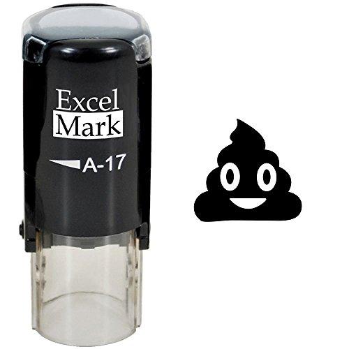 Round Teacher Stamp - Smiling Poop Emoji - Black Ink