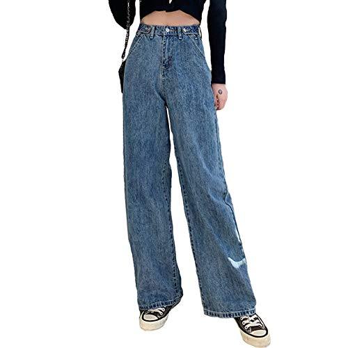 Frühling Herbst Breites Bein Jeans Damen Hohe Taille Denim Hose Koreanisch Strassenmode Retro Lose Sinken Gerade Hose,Blau,M