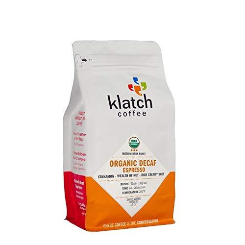 """Klatch Coffee """"Organic Decaf Espresso"""" Medium Roasted Organic Whole Bean Coffee - 12 Ounce Bag"""