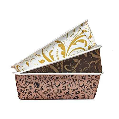 Disposable Paper Loaf Pan, Paper Baking Loft Mold 24ct, All Natural Recyclable, Microwave Oven Freezer Safe, Providing Beautiful Display For Baked Goods 6-1/4' x 2-1/8' x 2' (Multicolor)