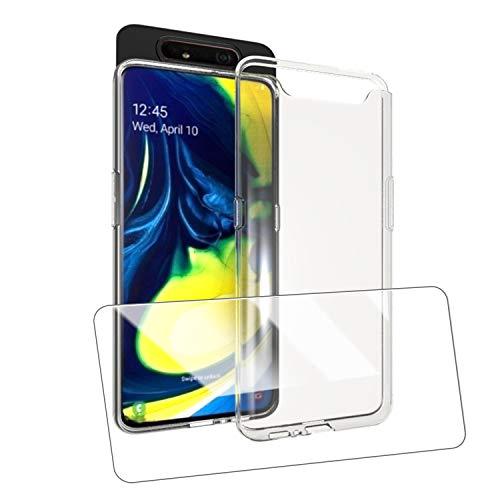 UCMDA Cover per Samsung Galaxy A80 + Pellicola Protettiva in Vetro Temperato, Custodia Trasparente Morbida in Silicone, Pellicola Protezione Schermo in Vetro Temperato per Samsung Galaxy A80