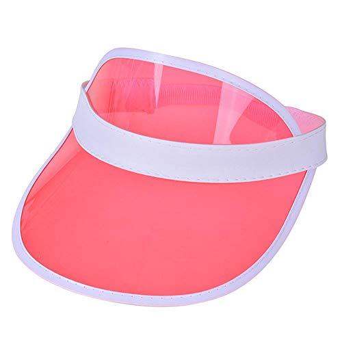 Ga-yinuo Verano Mujeres Hombres Sombrero para el Sol Color Caramelo Transparente Vacío Superior Plástico PVC Solar Sombrero Visera Gorras Bicicleta Sombrilla Sombrero, sandía Rojo