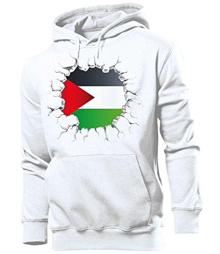 love-all-my-shirts Fussball Fanhoodie Palästina 5769 Männer Herren Hoodie Pulli Kapuzen Pullover Fanartikel Weiss M