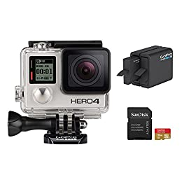 GoPro Hero 4 Silver Edition 12MP Waterproof Sports & Action Camera Bundle with 2 Batteries 11 Built-in touch display for easy camera control, shot-framing and playback,Protune with SuperView delivers cinema-quality capture and advanced manual control for photos and video with the world's most immersive wide-angle field of view Professional 1080p60 and 720p120 video with 12MP photos at up to 30 frames per second. Video Supported: 4K15 / 2.7K30 / 1440p48 / 1080p60 / 960p100 / 720p120 fps Built-in Wi-Fi and Bluetooth support the GoPro App, Smart Remote and more