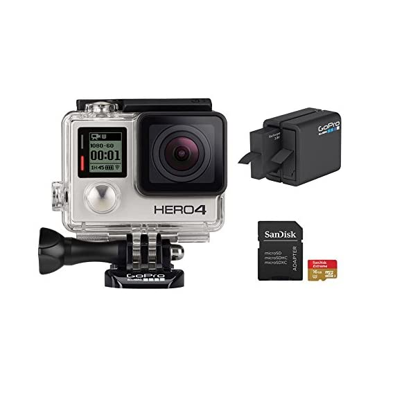 GoPro Hero 4 Silver Edition 12MP Waterproof Sports & Action Camera Bundle with 2 Batteries 1 Built-in touch display for easy camera control, shot-framing and playback,Protune with SuperView delivers cinema-quality capture and advanced manual control for photos and video with the world's most immersive wide-angle field of view Professional 1080p60 and 720p120 video with 12MP photos at up to 30 frames per second. Video Supported: 4K15 / 2.7K30 / 1440p48 / 1080p60 / 960p100 / 720p120 fps Built-in Wi-Fi and Bluetooth support the GoPro App, Smart Remote and more