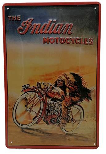 Indian Motorcycles - Motorrad Werkstatt Retro Blechschild, hochwertig geprägt, 30 x 20 cm Werbung Reklame-Marke-Schild-Magnet-Metallschild-Werbeschild-Wandschild