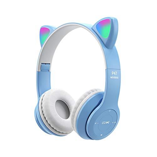 Katzenohren Bluetooth Kopfhörer LED Leuchtend Kopfhörer Faltbar Katzenohren Gaming Headset Kabellos Bluetooth Over Ear Katze Kopfhörer für PC Handy