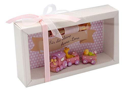 ZauberDeko Geldgeschenk Verpackung Geldverpackung MIT Namen Baby Eisenbahn Mädchen Geburt Taufe Gutschein
