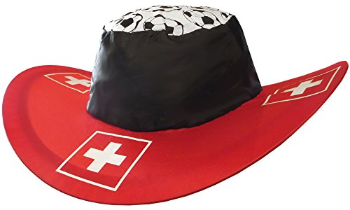 Kaltner Präsente Geschenkidee - Sonnenhut Hut Mütze Kappe aus Nylon faltbar in der Landesfarbe Schweiz ideal für Fasching Outdoor Sonnenschutz Regenschutz