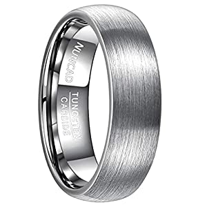 NUNCAD Ring Damen/Herren Hochzeit 7 mm Silber aus Wolfram, Fashion Unisex Ring für Partnerschaft, Verlobung und Geschenk, Größe 67