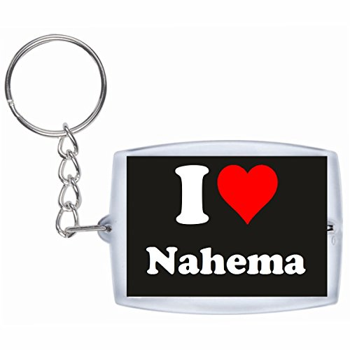Druckerlebnis24 Schlüsselanhänger I Love Nahema in Schwarz - Exclusiver Geschenktipp zu Weihnachten Jahrestag Geburtstag Lieblingsmensch