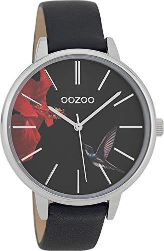 Oozoo Damenuhr mit Lederband 42 MM Colours of Summer Blume und Kolibri Schwarzes Zifferblatt C10186