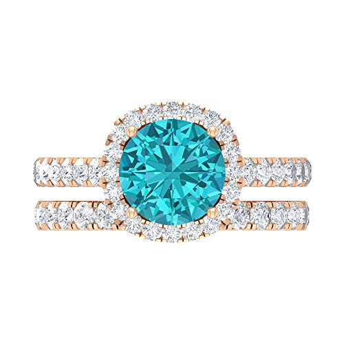 8 MM Lab Created Green Paraiba Tourmaline Solitaire Ring, D-VSSI Moissanite Halo Ring, Gold Wedding Ring Set, Half Eternity Ring (AAAA Quality), 18K Rose Gold, Size:UK L
