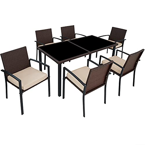 TecTake 800663 - Set 6 chairs and 1 Table, Poly Rattan Garden Dining, Aluminium, Stainless Steel Screws (Brown | No. 403028)