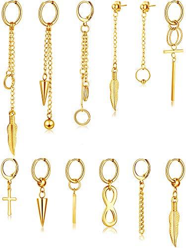 12 Pieces Hoop Dangle Earrings Stainless Steel Dangle Hinged Hoop Earrings Long Chain Pendant Earrings (Gold)
