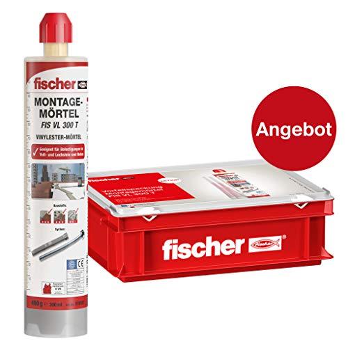 fischer 558724 Handwerkerkoffer FIS VL 300 T-für Standardanwendungen in Voll-/Lochsteinmauerwerk und gerissenem Beton-10 x Montagemörtel 20 x Statikmischer-300 ml, grau