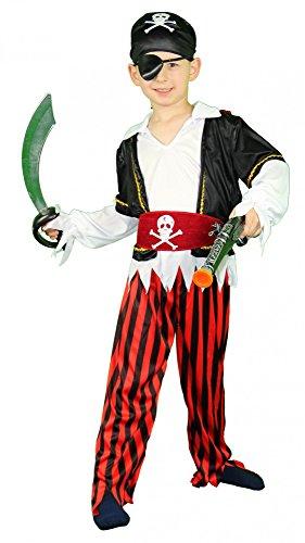 Foxxeo Piraten Kinderkostüm für Jungen Pirat Kostüm zu Fasching und Karneval Größe 122-128