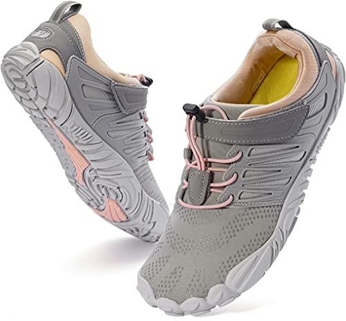WHITIN Women s Minimalist Barefoot Shoes Zero Drop Trail Running 5 Five Fingers Sneakers Size 8.5 Wide Toe Box for Female Lady Flat Heel Minimal Comfortable Hiking Trekking Gym Walking Grey Pink 39