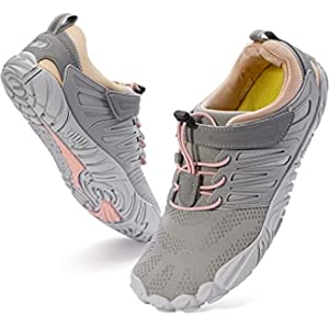 WHITIN Women's Minimalist Barefoot Shoes Zero Drop Trail Running 5 Five Fingers Sneakers Size 9 9.5 Wide Toe Box for Female Lady Hiking Trekking Trainning Minimus Lightweight Athletic Grey Pink 40