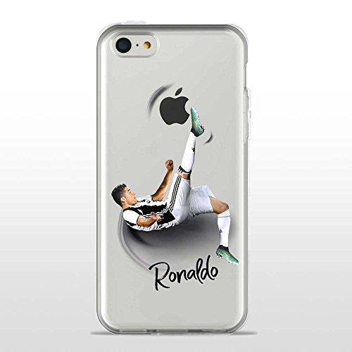 IP5C Cover TPU Gel Trasparente Morbida Custodia Protettiva, Soccer Collection, CR7 Juve, iPhone 5C