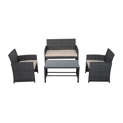 Outsunny 4-Piece Wicker Outdoor Rattan Furniture Set with Loveseat, 2 Chairs, & Coffee Table with UV Fighting Material