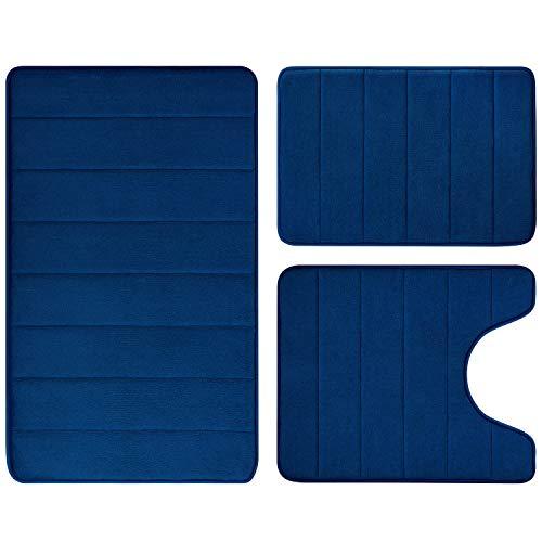 BYSURE Navy Blue Bathroom Rug Set 3 Piece Non Slip Extra Absorbent Shaggy Memory Foam Bathroom Mats and Rugs Sets, Soft & Dry Bath Mat Sets for Bathroom Washable Carpets Set