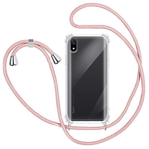 Funda con Cuerda para Xiaomi Redmi 7A, Carcasa Transparente TPU Suave Silicona Case con Correa Colgante Ajustable Collar Correa de Cuello Cadena Cordón para Xiaomi Redmi 7A - Oro Rosa