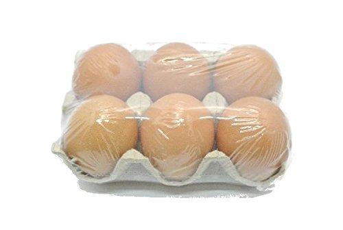 Bellaflor Hühnereier echt / 6 Stück/braun/ 6 cm/entleert und gereinigt/im Eierkarton