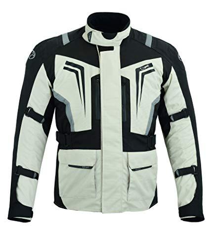 JET Giacca Giubbotto Moto Uomo Tasche Magnetiche Protezioni Ventilazione Tessile Riflessivo Tutte le stagioni STORMER (S, Argento Nero)