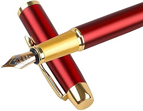 YOHOTA Füllfederhalter, roter Lack mit goldfarbenem Rand, feine Spitze, geeignet für Männer und Frauen, Geschäftsleute, Büro, Alltag, Uni, tolles Geschenk (0,5 mm)