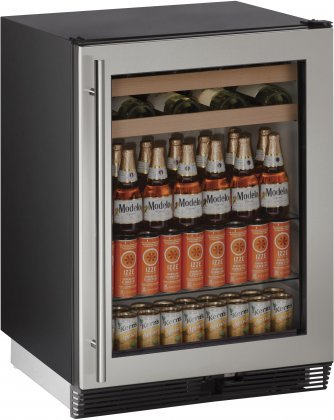 U-Line U1024BEVS00B 5.4 cu. ft. Capacity 24' 1000 Series Freestanding or Built In Full Size Beverage Center in Stainless Steel