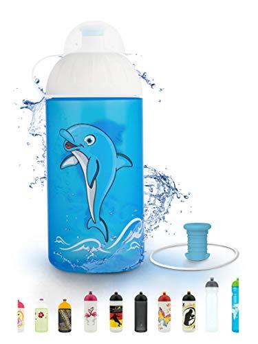 FreeWater Trinkflasche, 500 ml, Delfin: schadstofffrei, spülmaschinengeeignet, auslaufsicher, langlebig