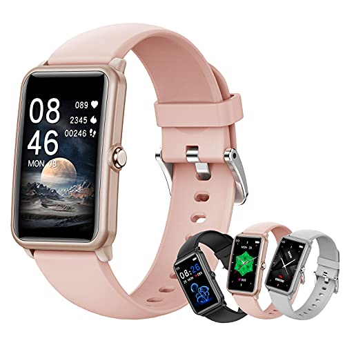 HQPCAHL Reloj Inteligente Smartwatch, Monitor De Ciclo Menstrual Femenino, Frecuencia Cardíaca, Presión Arterial, Sueño, Rastreador De Salud para Teléfonos Android iOS,Rosado
