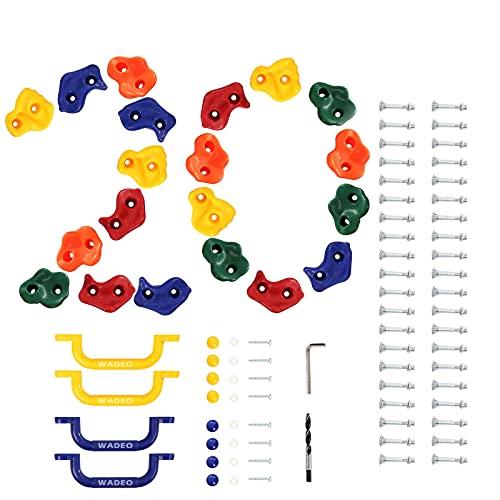 WADEO Klettersteine Kinder Klettergriffe Set 20 Stück Klettersteine für Kletterwand im Set bunt gemischt robuste Klettergriffe für Spielturm Kletterwände Befestigungsmaterial Klettergriffe bunt