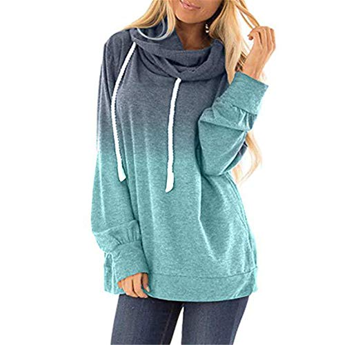 ZFQQ Autumn and Winter Women's Fashion Loose Digital Printing Gradient Color Hooded Long-Sleeved Sweater Light Green