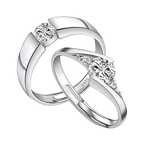 Janly Clearance Sale Anillos para mujer, 2 anillos para parejas, anillo de cobre fresco con apertura de nudo ajustable, anillo de cobre, conjuntos de joyería, día de San Valentín (M)