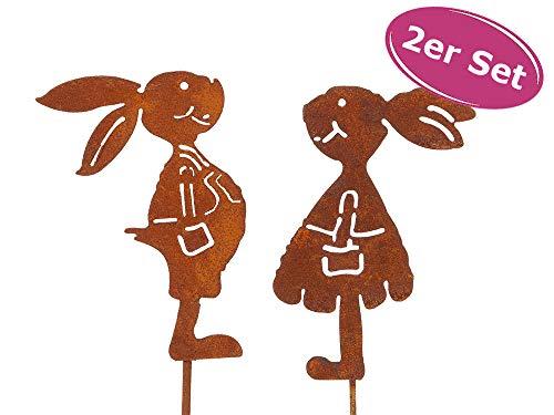 itsisa ® Gartenstecker Hase im Rost Design H: 20cm, 2er Set, Rostfigur Osterhase für den Garten, Frühlingsdeko, G