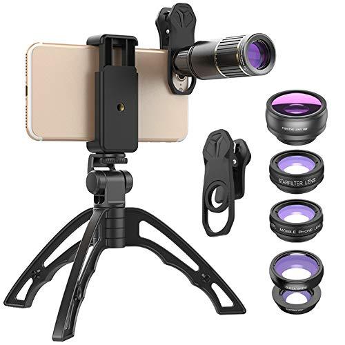 Kit de lentes de cámara para teléfono celular, 6 en 1 universal 16x zoom telefoto+gran angular+lente macro+lente ojo de pez de 198°+polarización CPL+polea de filtro Starlight