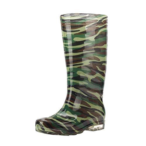 Trendige Unisex PVC Langschaft Gummistiefel Tarnung Rutschfeste Wasserdicht Regenstiefel Gartenschuhe Freizeit Outdoor Sicherheitsstiefel Regenschuhe Stiefel Rain Boots (41 EU, Grün)