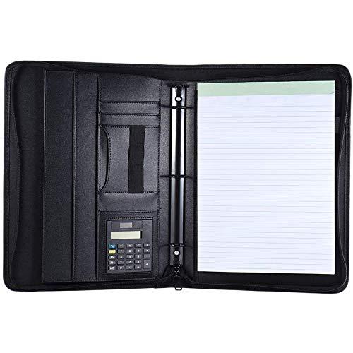 PQZATX A4 Leder Gesch?Fts Portfolio Padfolio Folder mit Visiten Karte U Flash Disk Halter Notizblock Lose Blatt Schleife