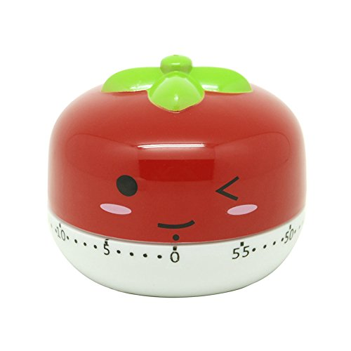 Golandstar Cute Cartoon Vegetables Timers 60 Minutes Mechanical Kitchen Cooking Timer Clock Loud Alarm Counters Mini Size Manual Timer (Red - Tomato)