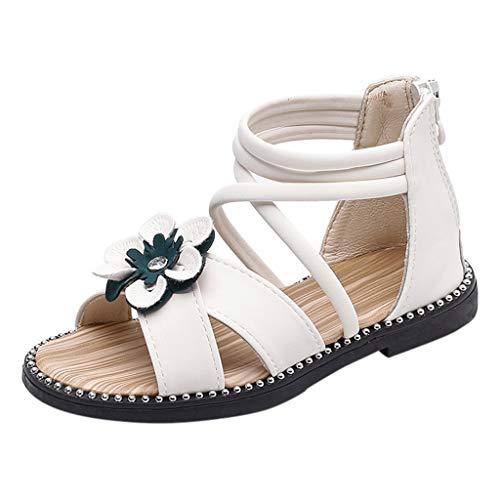 HLIYY Fleurs pour Les Filles des Enfants à L'ArrièRe Fermeture à GlissièRe Chaussures De Sport Chaussures Simples Chaussures Cool Sandales Plates Bride Cheville Sandales Bout Ouvert Sandales