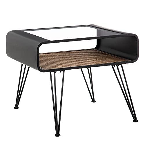LOLAhome - Tavolino ausiliario in vetro e metallo nero, 68 x 52 x 54 cm