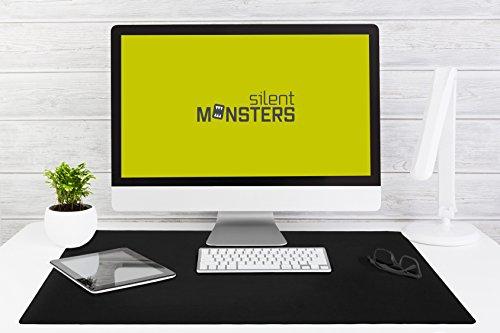 Silent Monsters Alfombrilla ratón Ordenador tamaño XXL (900 x 600 mm), Mouse Pad Grande, diseño Negro, Adecuado para ratón de Oficina y para Gaming