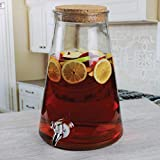 Circleware Island Quench Glass Beverage Dispenser with Cork Lid Fun Party Entertainment Home & Kitchen Glassware Water Pitcher for Juice, Beer, Kombucha & Cold Drinks, 1.7 Gallon, Clear