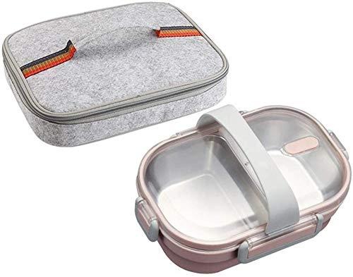 Pkfinrd Lunch Box304 roestvrij staal Bento doos met compartimenten kinderen school witte kraag voedsel container lekvrij voedsel doos B roze tas Set