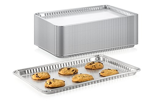 """Pack of 15 Aluminum Square Baking Pans - Disposable Foil Cooking Tins - Ideal for Brownie, Coffee Cakes, Side Dishes – Use as Portable Food Storage Container - Standard Size 16' x 11-¼ x 3/4"""" Inch"""